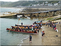 SW3526 : Pilot gigs in Sennen Cove harbour by Rod Allday