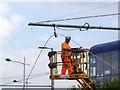 SK5638 : Overhead erection on Enterprise Way - 4 by Alan Murray-Rust