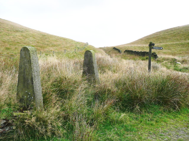Old gate posts near a bridleway junction