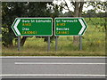 TM3188 : Roadsigns on the A143 Old Railway Road by Adrian Cable
