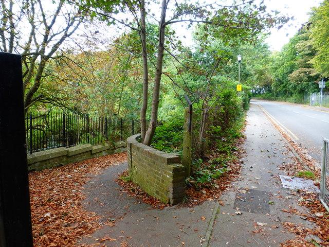 Footpath leads off Gun Hill