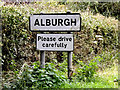 TM2786 : Alburgh Village Name sign on Low Road by Adrian Cable
