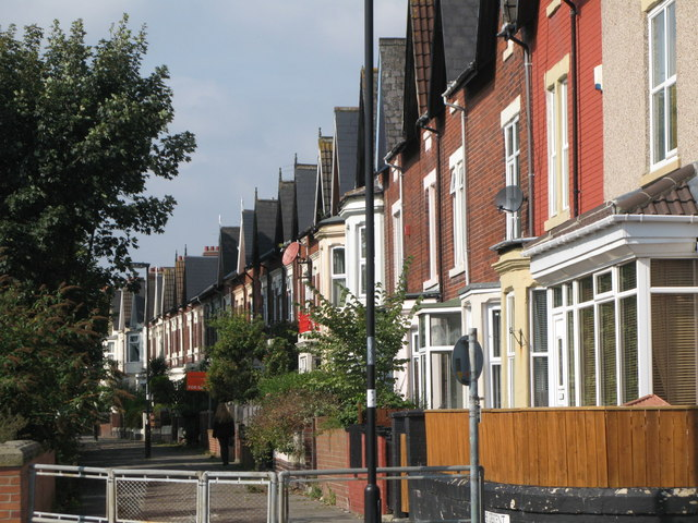 Terraced houses west of Whitley Bay Metro station