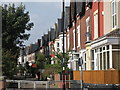 NZ3571 : Terraced houses west of Whitley Bay Metro station by Mike Quinn