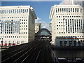 TQ3780 : London Cityscape : View Up The Line From Heron Quays To Canary Wharf by Richard West