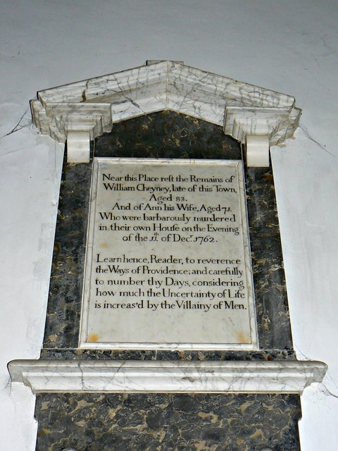 Memorial plaque to Mr and Mrs Cheyney, St Lawrence's Church, Parsonage Lane, Hungerford