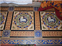NY3056 : St Peter's Church, Kirkbampton - Victorian floor tiles by Rose and Trev Clough
