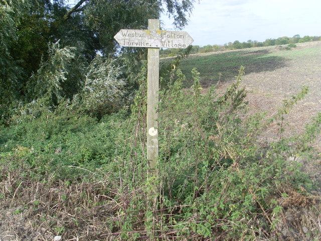Signpost in a field near Weston Turville