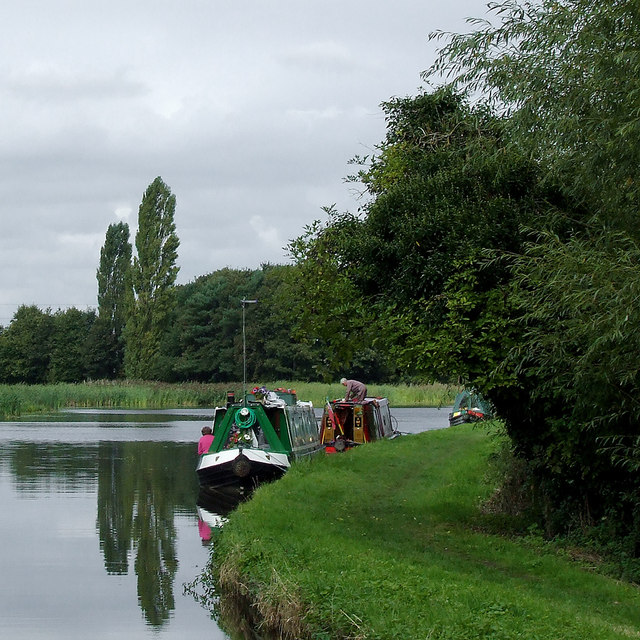 Moored narrowboats on Tixall Wide, Staffordshire