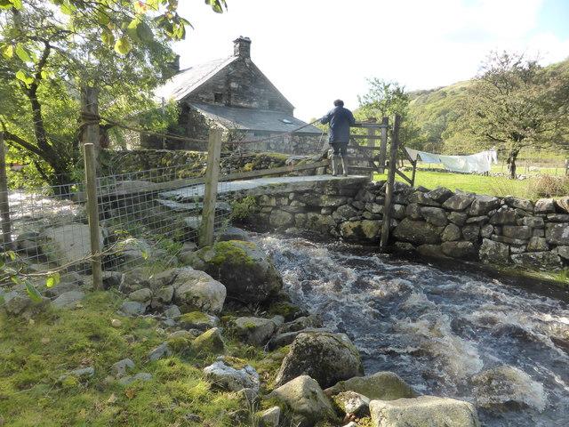 Slate footbridge near Cwm Farm by David Medcalf