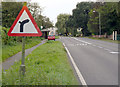 SK7282 : Right hand bend ahead, with road junction left by Alan Murray-Rust