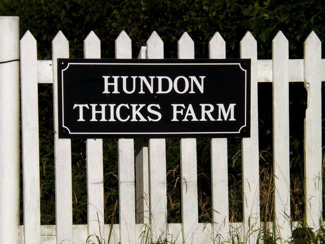 Hundon Thicks Farm sign