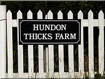 TL7448 : Hundon Thicks Farm sign by Adrian Cable