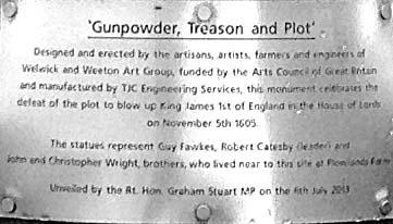 Gunpowder plot information plate