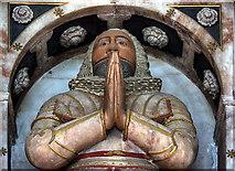 SJ3454 : All Saints Church, Gresford - monument to Sir Richard Trevor (detail) by Mike Searle