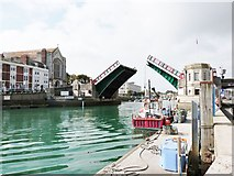 SY6778 : Cantilever bridge allowing access to the inner harbour and marina, Weymouth by Derek Voller