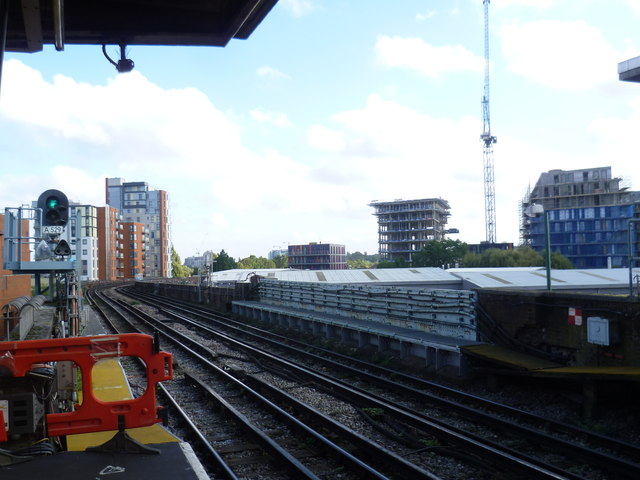 View from the end of the platform at Alperton station