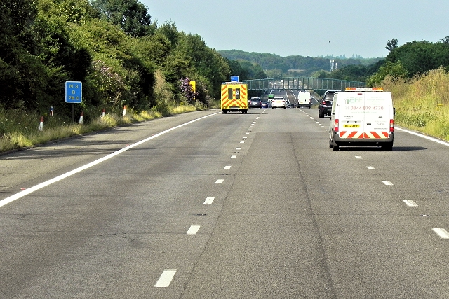 Northbound M3 near Cliddesden