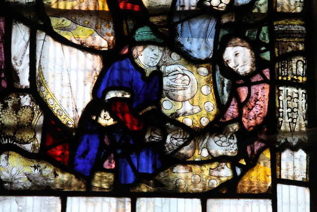 Detail, medieval stained glass, Great Malvern Priory