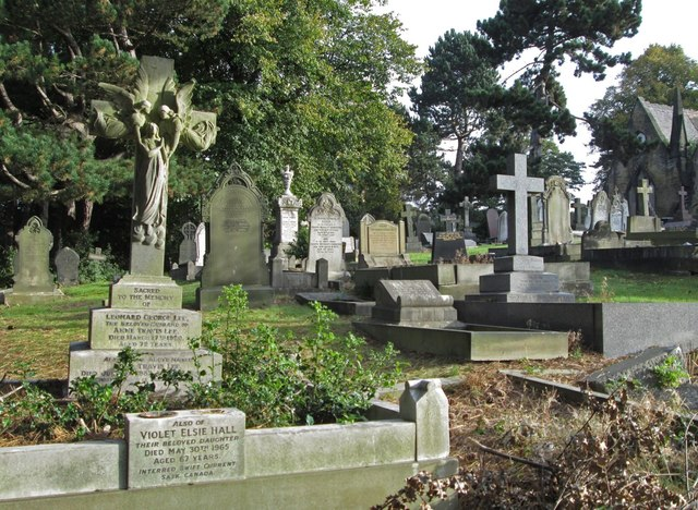 Spital - Cemetery - gravestones to SW of chapel