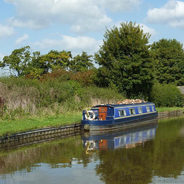 Moored narrowboat west of Burston, Staffordshire