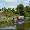 SJ9330 : Moored narrowboat west of Burston, Staffordshire by Roger  Kidd