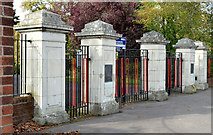 J3170 : Main entrance gates, Musgrave Park, Belfast (October 2014) by Albert Bridge
