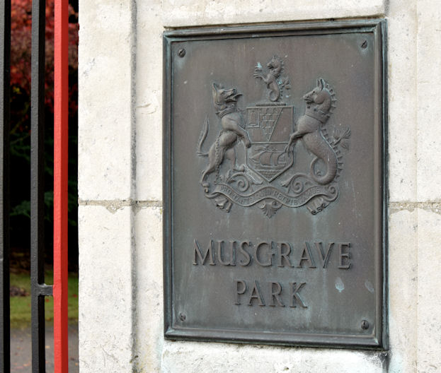 Musgrave Park gate plaque, Belfast (October 2014)