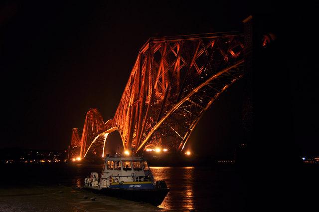 Floodlit Forth Bridge