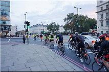TQ3078 : Bikes about to cross Vauxhall Bridge Road by Bill Boaden