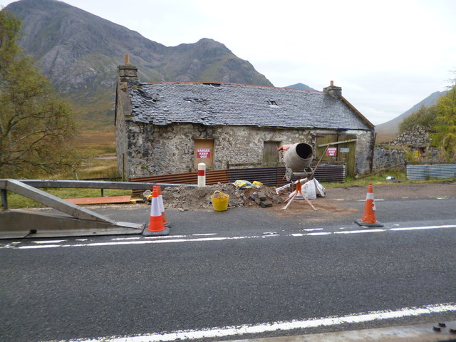 Derelict building at Altnafeadh undergoing repair