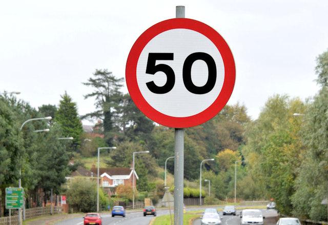 Speed limit sign, Belfast (October 2014)