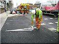 SU7174 : Painting road markings where De Montford Road meets Vastern Road, Reading by Robin Stott