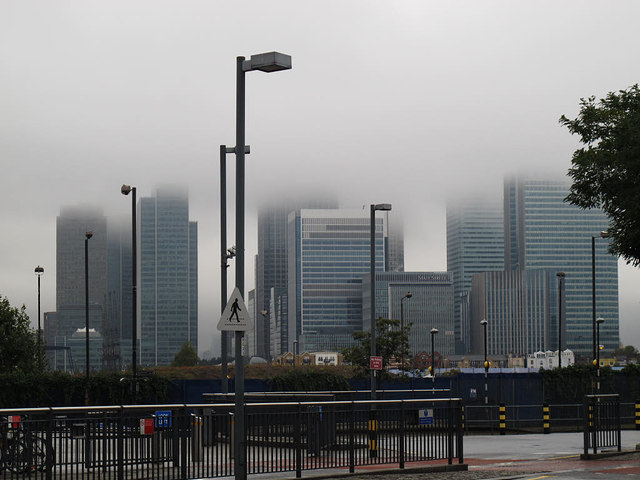 Low cloud over the Isle of Dogs