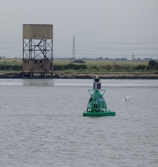 The Ovens marker buoy . . . and the 'water-tower' at Coalhouse Point