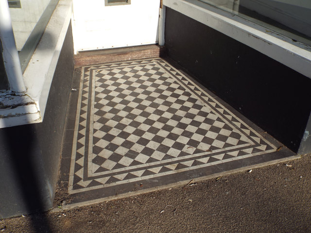 Tiled floor to shop entrance, George Street, Teignmouth