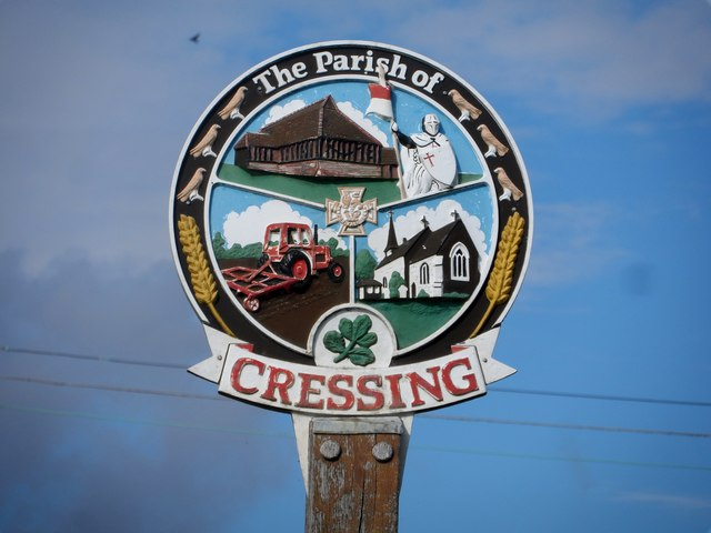 Cressing village sign (close-up)
