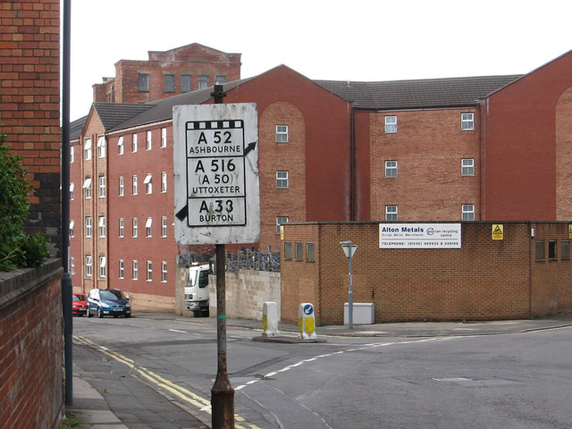 Derby - pre-1964 road sign on Lodge Lane