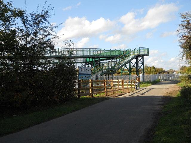 New footbridge at Foxcovert Road crossing, Glinton