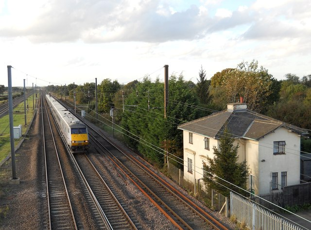East Coast train at the former Hurn Road crossing, Marholm