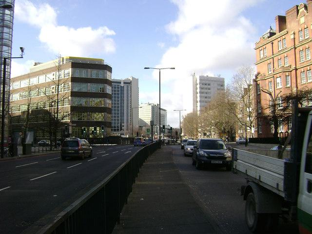The western end of Marylebone Road, London, looking west