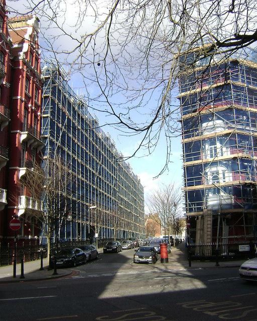 Scaffolding almost the length of Transept Street, Marylebone, London