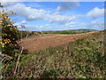 SO4509 : Looking across a stubble field to the A40 and beyond, near Dingestow by Ruth Sharville