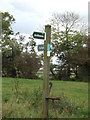 TM0763 : footpath/bridleway sign by Adrian Cable
