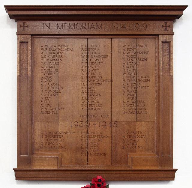 All Saints, Cottenham - War Memorial WWI