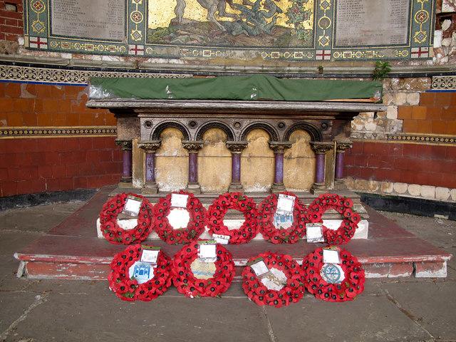 Poppy wreaths in St George's chapel, Woolwich