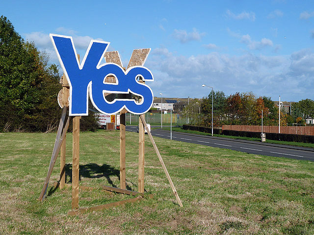 A Scottish Independence Referendum campaign sign at Eyemouth
