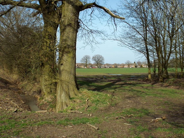 Footpath to Wythall at a meeting of field boundaries