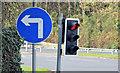 "J3876 : ""Turn left ahead"" sign, Knocknagoney, Belfast (October 2014) by Albert Bridge"
