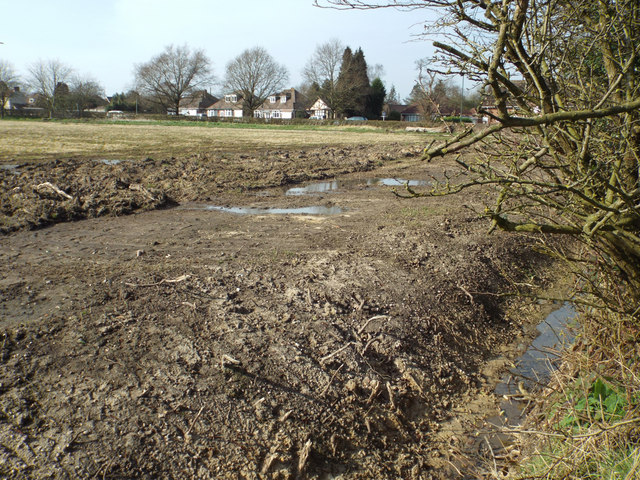 Field drainage works by Station Road, Wythall